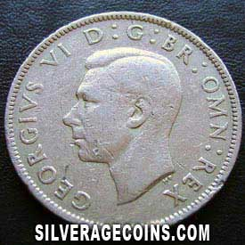 1948 George VI British 2 Shillings (Obverse)